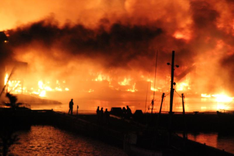 Fish Plant Fire - Long Cove - July 2016 (photo by Ida Newhook)