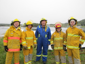 Members of NCLCFD and Instructor Leo White (L-R; Gerald Bond, Samantha Newhook, Leo White, Corey Hudson, and Michael Williams)